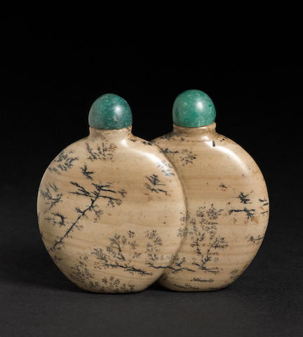 A soapstone double snuff bottle  1820-1800