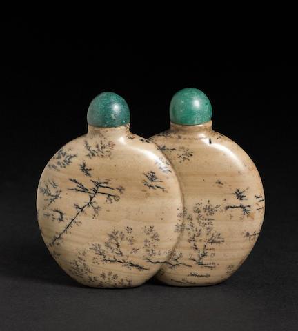 A soapstone double snuff bottle  1820-1800