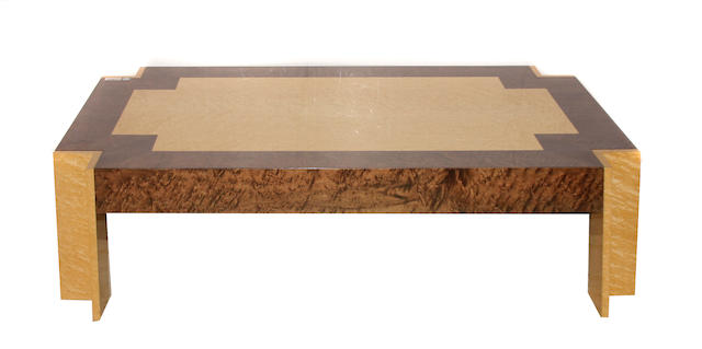 A Contemporary mixed burlwood coffee table