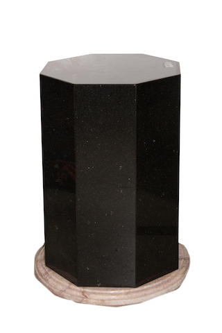 A pair of Contemporary granite and marble octagonal pedestals