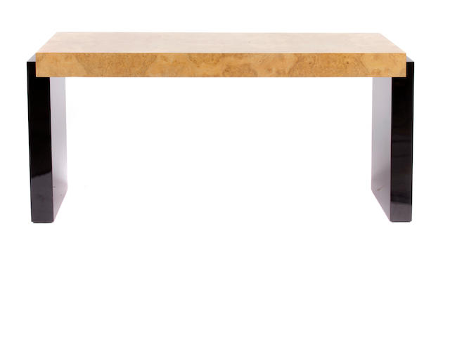 A Contemporary burlwood, ebonized wood and chromed metal console