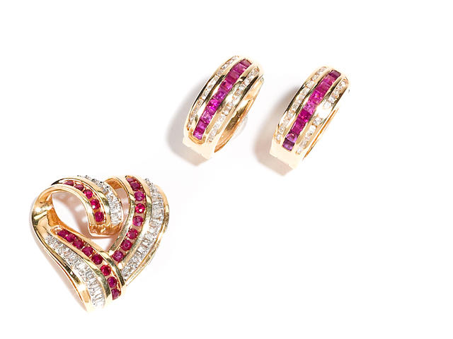 A group of ruby, diamond and 14k gold jewelry