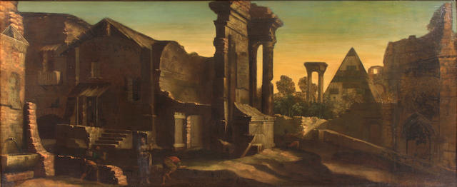 Italian School, 17th Century A capriccio landscape with ruins and figures in the foreground 30 x 70in