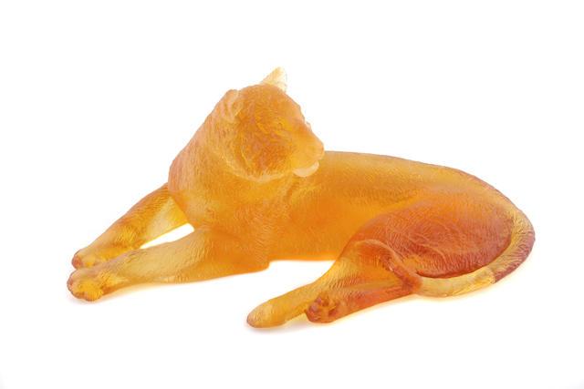 A Cristallerie Royale de Champagne amber glass lion