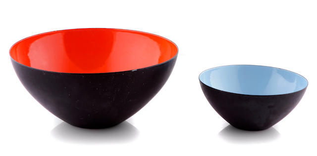 A set of seven enameled metal bowls attibuted to Herbert Krenchel, 1950s