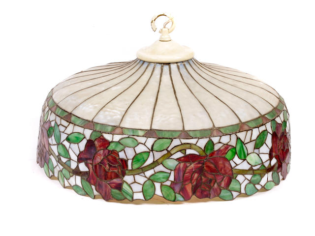 A leaded glass Rose hanging lamp