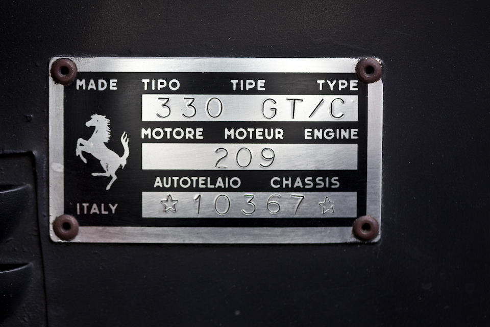 Four owners from new,1967 Ferrari 330 GTC Berlinetta  Chassis no. 10367 Engine no. 10367
