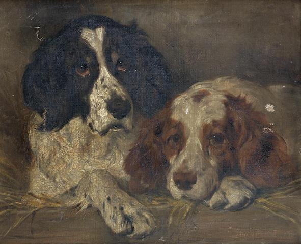 John Emms (British, 1843-1912) Spaniels resting 10 x 12 in. (25.5 x 30 cm.)