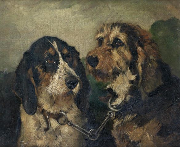John Emms (British, 1843-1912) Hounds before the chase 10 x 12 in. (25.5 x 30.5 cm.)