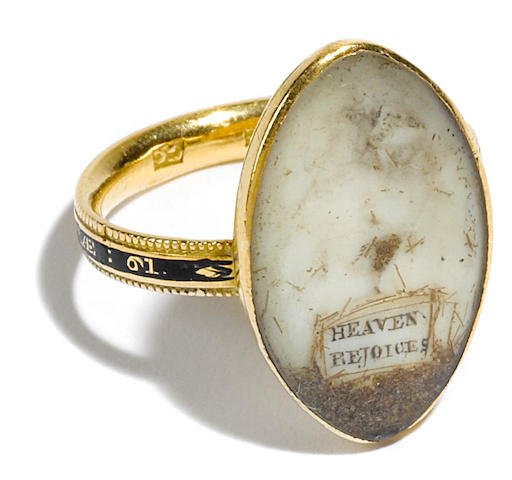 A George III lady's gold mourning ring  late 19th century