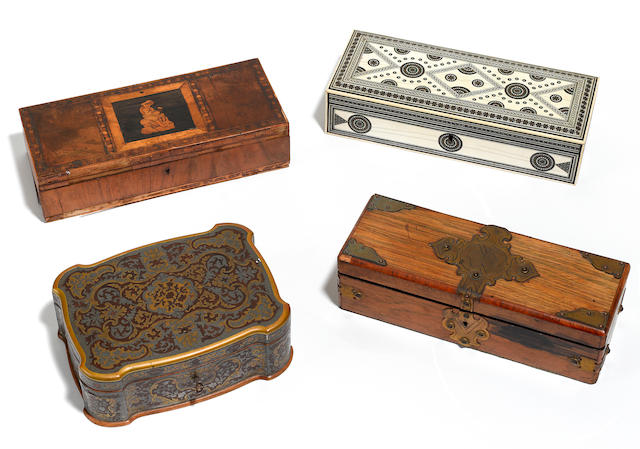 Three decorative wooden table boxes