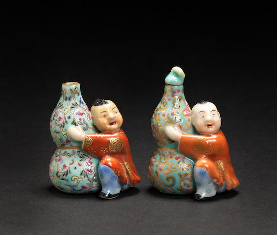 Two molded porcelain snuff bottles  Qianlong marks, Republic period