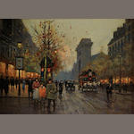 Follower of Edouard Léon Cortès (French, 1882-1969) Porte Saint-Martin 13 x 18in
