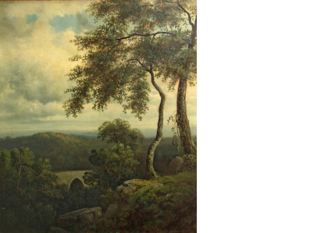 Continental School A wooded landscape with a bridge 30 x 25in