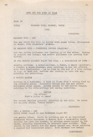 An early draft script for Anna and the King of Siam