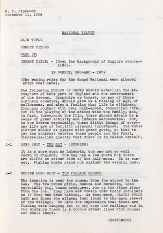 An early script for National Velvet