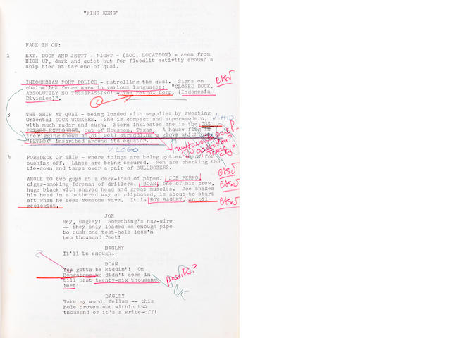 An early annotated King Kong production script