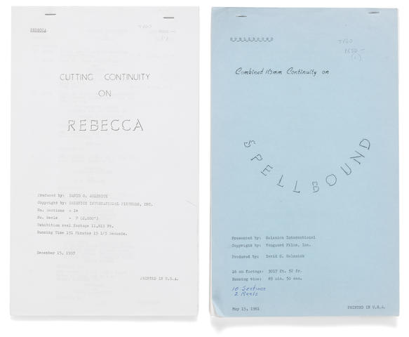 A pair of continuity scripts for Alfred Hitchcock films