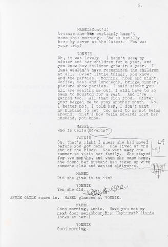 Horton Foote.  Governor's Lady.  Master transcript.