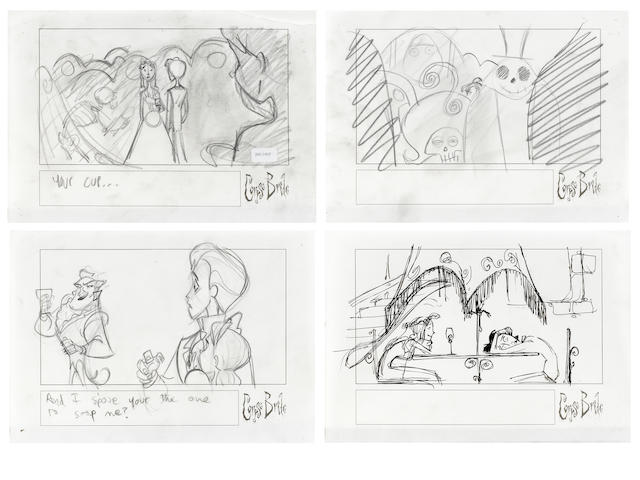 Four storyboards from The Corpse Bride