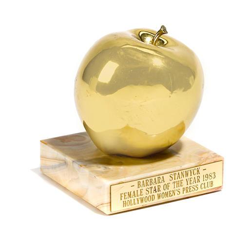 """A Barbara Stanwyck """"Golden Apple"""" award"""