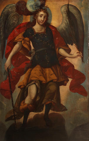 Spanish Colonial School 18th C., The Archangel St. Gabriel, o/c, 87 x 42in