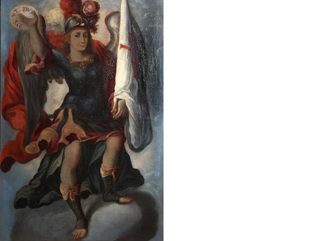 Spanish Colonial School A soldier saint, thought to be St. Michael 63 x 41 1/4in