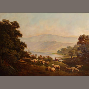 Continental School, English 19th C., Shepherds and their flocks in a hilly landscape with lake, o/c, 40 x 56in