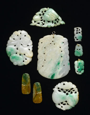 A group of small jadeite decorations