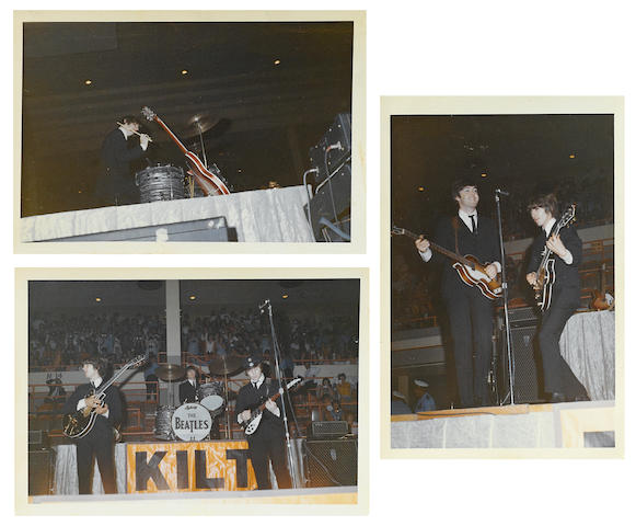 A group of candid Beatles performance photographs