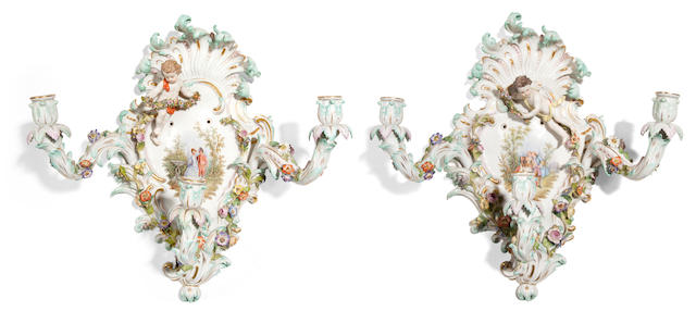 A pair of Meissen three light wall sconces <BR />late 19th/early 20th century