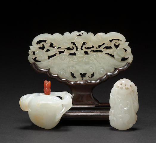 A group of three jade carvings 19th century