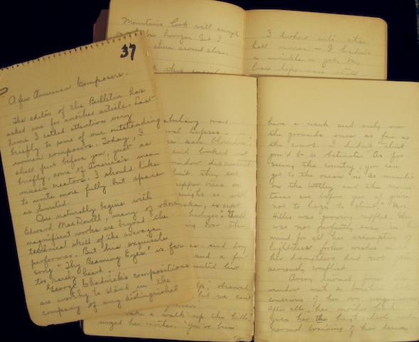 EBERHARDT, NELLE RICHMOND. 1871-1944. Archive of 39 autograph manuscript notebooks, thousands of pages, rectos and versos, 8vo, mostly in heavy pencil, some minor dampstaining.