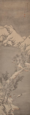 attributed to Zhang Hong (1577-c.1668) Snow Landscape, 1641