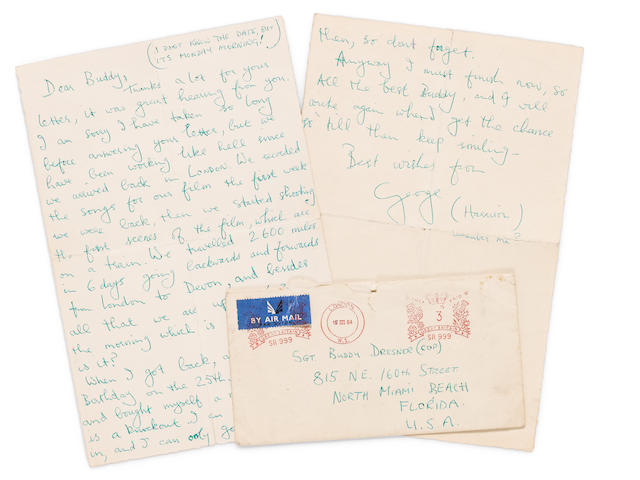 A George Harrison handwritten two page letter