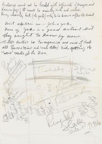 A John Lennon and Yoko Ono handwritten notes to Derek Taylor