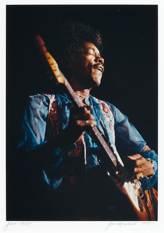 Jimi Hendrix photo by Jim Marshall, sgd.