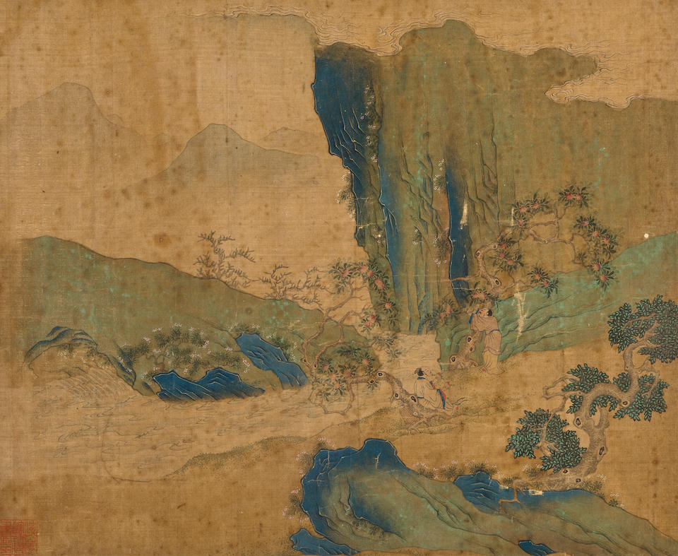 Anonymous (circa 1600) Figures in a Blue/Green Landscape