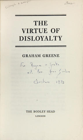 GREENE, GRAHAM. 1904-1991. Virtue of Disloyalty. London: Bodley Head, [1972].