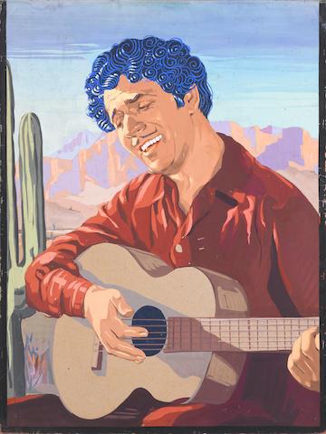 SILENT FILM: Monte Blue and Patsy Ann Miller, Hogan's Alley, Warner Bros., 1925; Willard Louis, Hogan's Alley, Warner Bros., 1925; Warner Baxter with guitar, probably from In Old Arizona, Fox, 1928; Warren Baxter personality portrait in hat