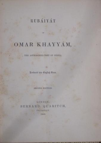 FITZGERALD, EDWARD. 1809-1883. Rubáiyát of Omar Khayyám. London: Bernard Quarich, 1868.<BR />