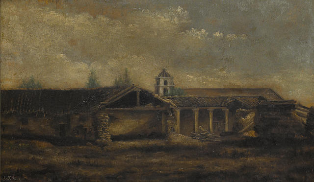 Jules Tavernier (1844-1889) Thought to be Mission San Buenaventura, circa 1880 15 1/2 x 25 3/4in