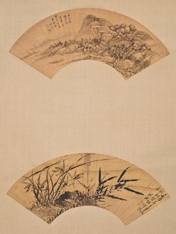 Bian Jiu 卞久 Qing Dynasty, Zhu Sheng诸昇(1618-c. 1690)   Landscape and Orchid