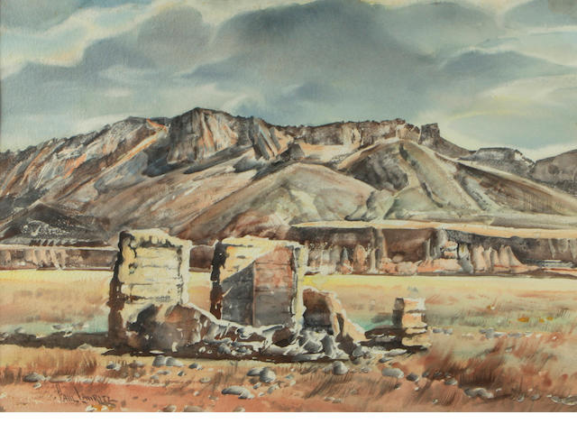 Paul Lauritz (Norwegian/American, 1889-1975) Southern Utah (Old Ruins) 20 x 29in