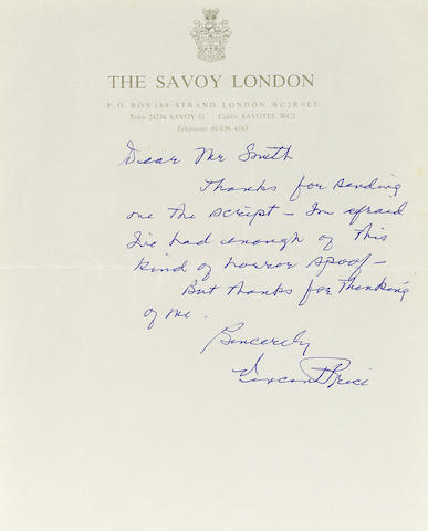 A handwritten Vincent Price letter