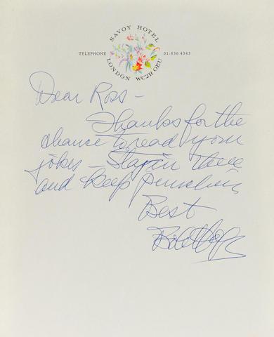 A handwritten Bob Hope letter