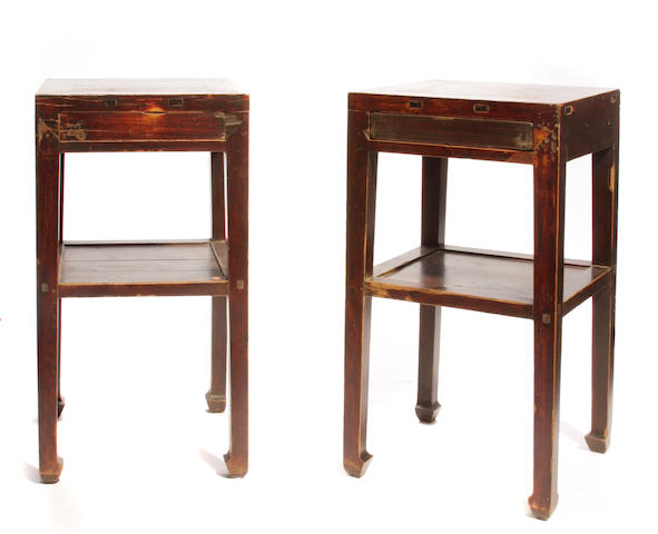 A pair of Chinese hardwood tall end tables