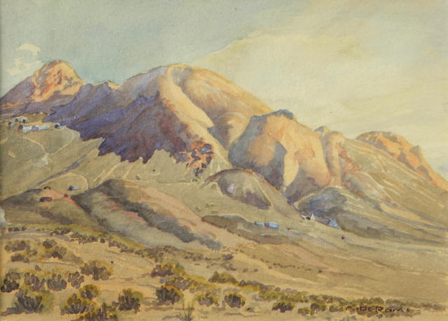 Albert Thomas DeRome (American, 1885-1959) Tonopah, Divide Hill, 1922 6 3/4 x 9 1/2in