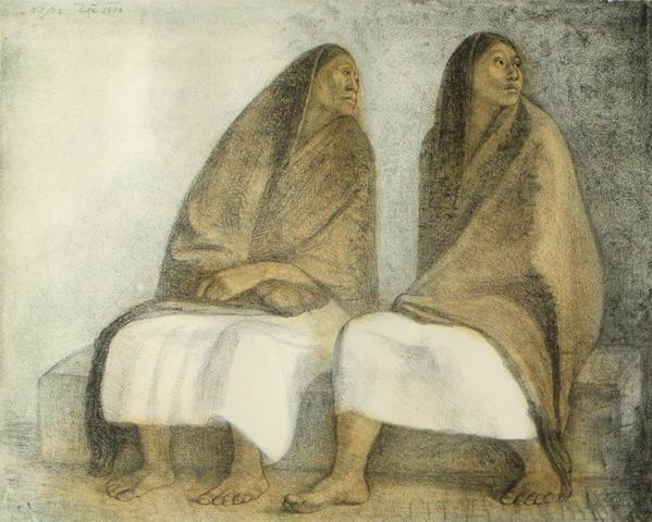 Francisco Zúñiga (Mexican, 1912-1998); Dos Mujeres Sentadas con Rebozos;