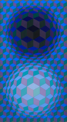 Victor Vasarely (Hungarian, 1906-1997); Untitled (Blue/Green/Purple); Untitled (Purple/Red/Gold); (2)